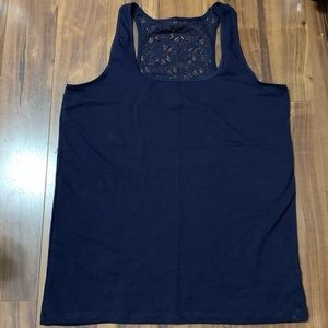 Tops - NWT Navy Blue Lace Back Tank Size XL